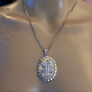Vintage western Germany palm tree pendant necklace